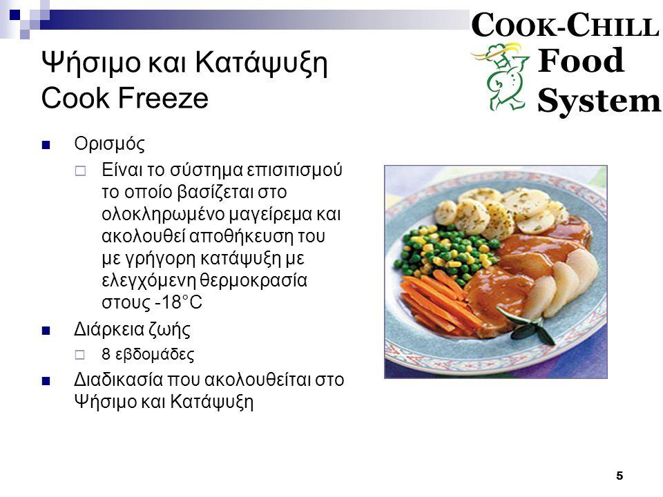 5 Ψήσιμο και Κατάψυξη Cook Freeze Ορισμός  Είναι το σύστημα επισιτισμού το οποίο βασίζεται στο ολοκληρωμένο μαγείρεμα και ακολουθεί αποθήκευση του με