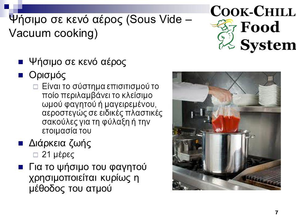 7 Ψήσιμο σε κενό αέρος (Sous Vide – Vacuum cooking) Ψήσιμο σε κενό αέρος Ορισμός  Είναι το σύστημα επισιτισμού το ποίο περιλαμβάνει το κλείσιμο ωμού