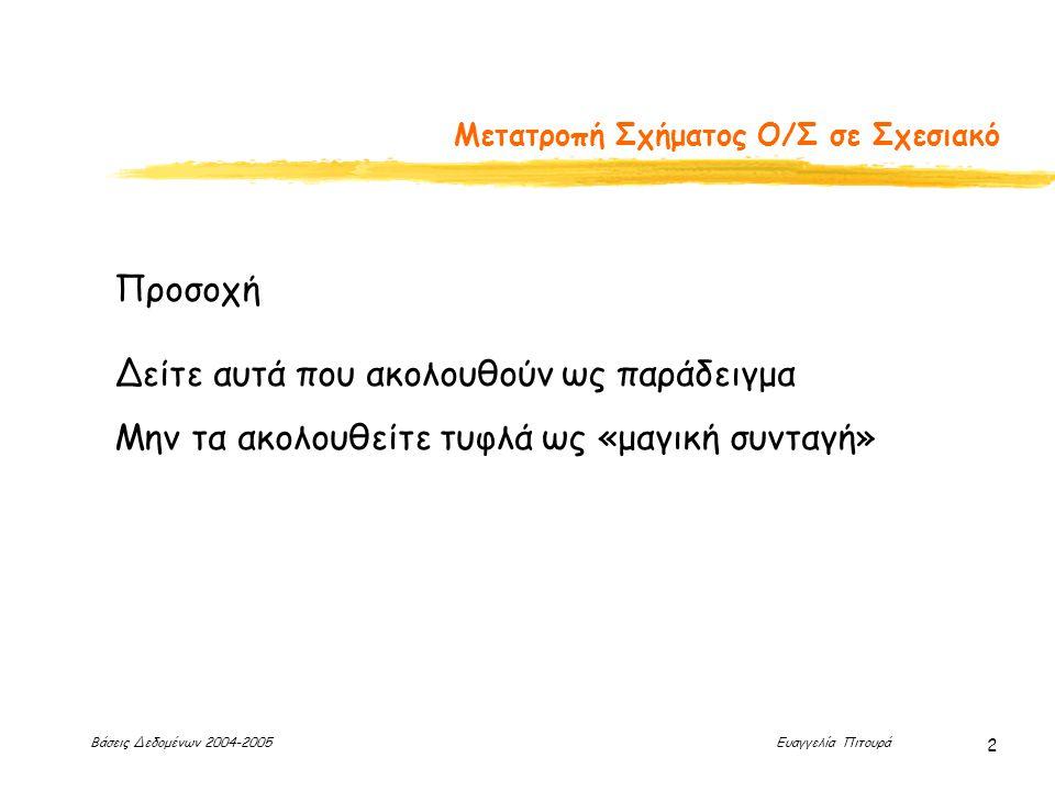 Βάσεις Δεδομένων 2004-2005 Ευαγγελία Πιτουρά 2 Μετατροπή Σχήματος Ο/Σ σε Σχεσιακό Προσοχή Δείτε αυτά που ακολουθούν ως παράδειγμα Μην τα ακολουθείτε τ