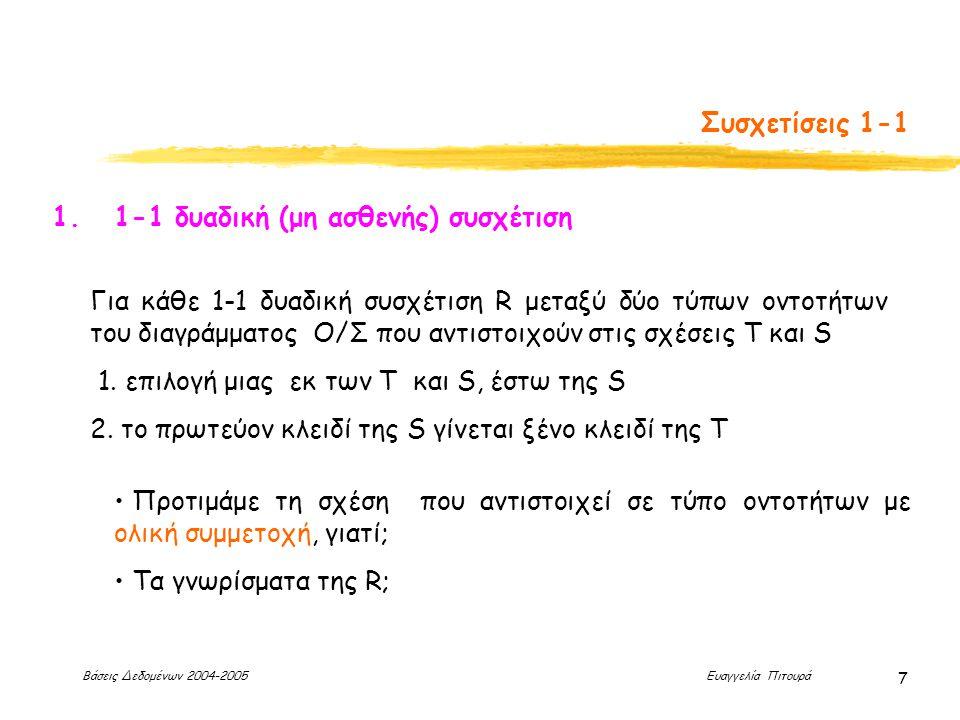 Βάσεις Δεδομένων 2004-2005 Ευαγγελία Πιτουρά 7 Συσχετίσεις 1-1 1. 1-1 δυαδική (μη ασθενής) συσχέτιση Για κάθε 1-1 δυαδική συσχέτιση R μεταξύ δύο τύπων