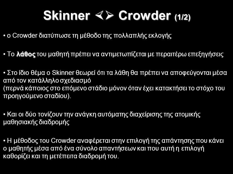 Skinner  Crowder (1/2) ο Crowder διατύπωσε τη μέθοδο της πολλαπλής εκλογής λάθος Tο λάθος του μαθητή πρέπει να αντιμετωπίζεται με περαιτέρω επεξηγήσ