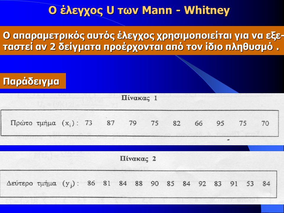 Ο έλεγχος U των Mann - Whitney Ο απαραμετρικός αυτός έλεγχος χρησιμοποιείται για να εξε- ταστεί αν 2 δείγματα προέρχονται από τον ίδιο πληθυσμό. Παράδ