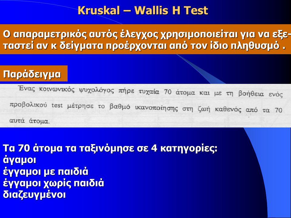 Kruskal – Wallis H Test Ο απαραμετρικός αυτός έλεγχος χρησιμοποιείται για να εξε- ταστεί αν κ δείγματα προέρχονται από τον ίδιο πληθυσμό. Παράδειγμα Τ