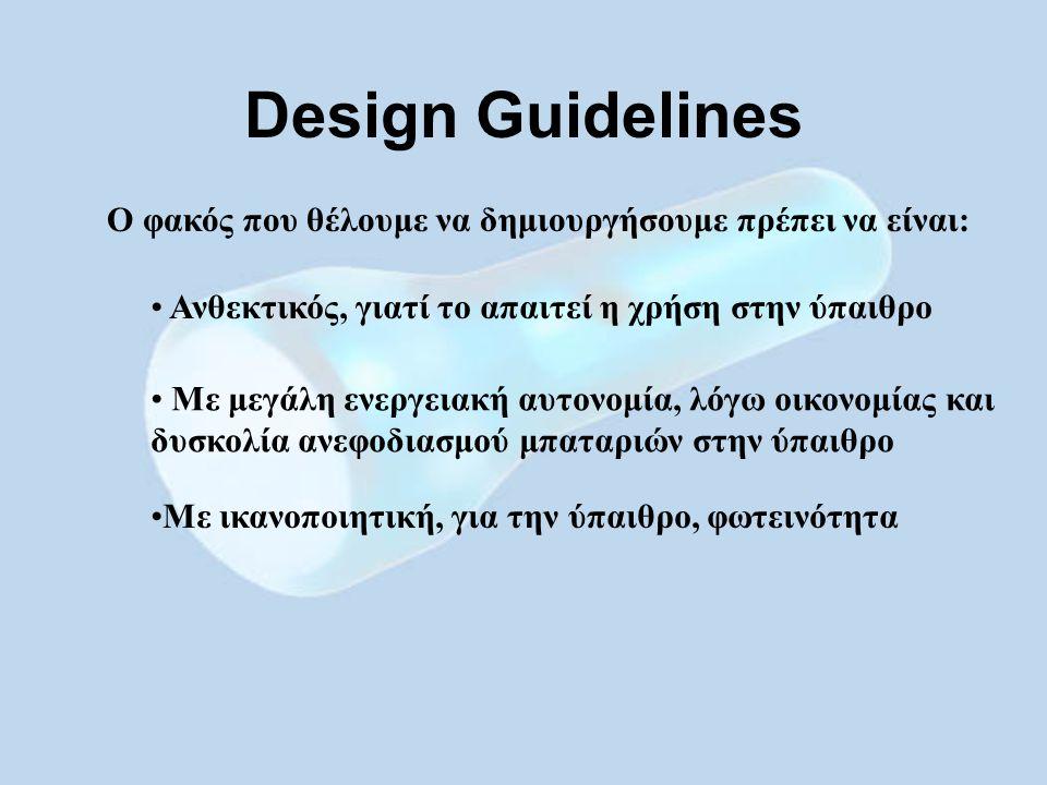 Ο φακός που θέλουμε να δημιουργήσουμε πρέπει να είναι: Design Guidelines Ανθεκτικός, γιατί το απαιτεί η χρήση στην ύπαιθρο Με μεγάλη ενεργειακή αυτονομία, λόγω οικονομίας και δυσκολία ανεφοδιασμού μπαταριών στην ύπαιθρο Με ικανοποιητική, για την ύπαιθρο, φωτεινότητα