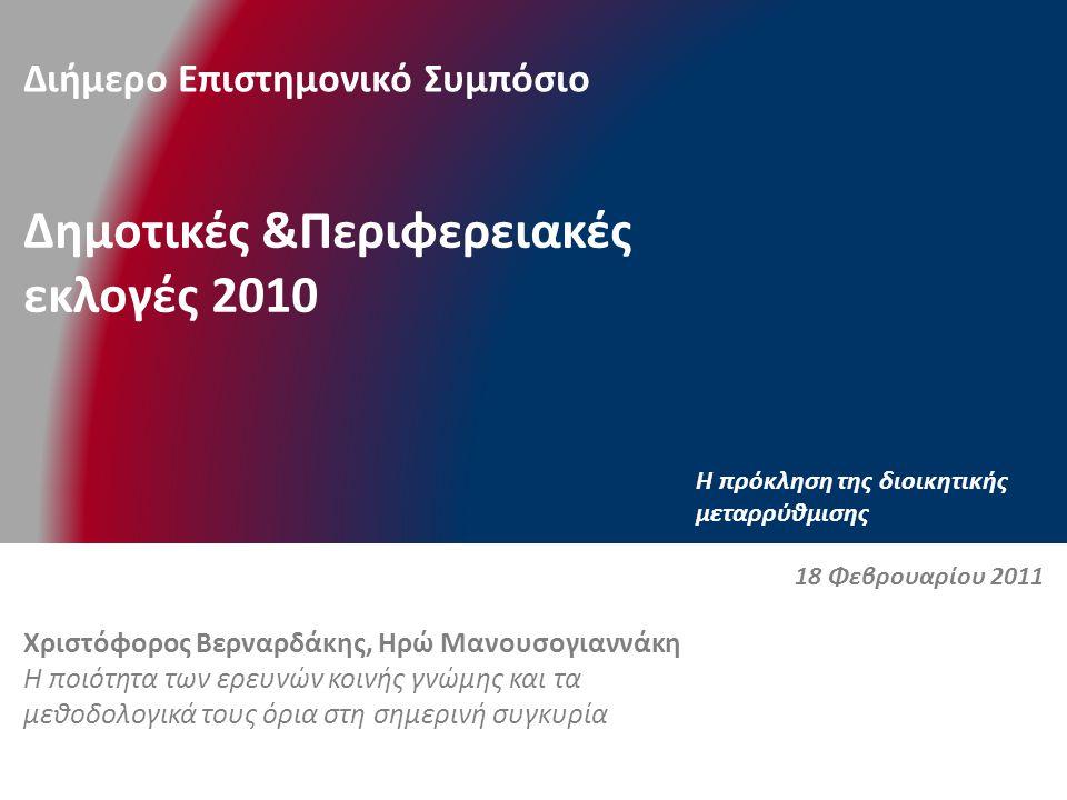Διήμερο Επιστημονικό Συμπόσιο Δημοτικές &Περιφερειακές εκλογές 2010 H πρόκληση της διοικητικής μεταρρύθμισης Χριστόφορος Βερναρδάκης, Ηρώ Μανουσογιαννάκη Η ποιότητα των ερευνών κοινής γνώμης και τα μεθοδολογικά τους όρια στη σημερινή συγκυρία 18 Φεβρουαρίου 2011
