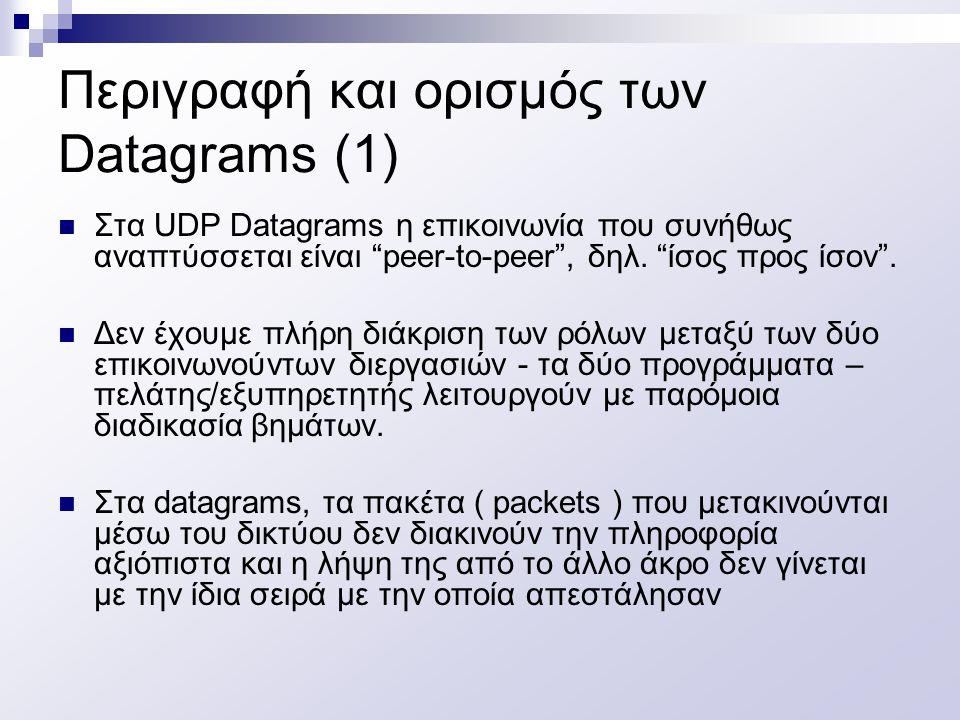 """Περιγραφή και ορισμός των Datagrams (1) Στα UDP Datagrams η επικοινωνία που συνήθως αναπτύσσεται είναι """"peer-to-peer"""", δηλ. """"ίσος προς ίσον"""". Δεν έχου"""