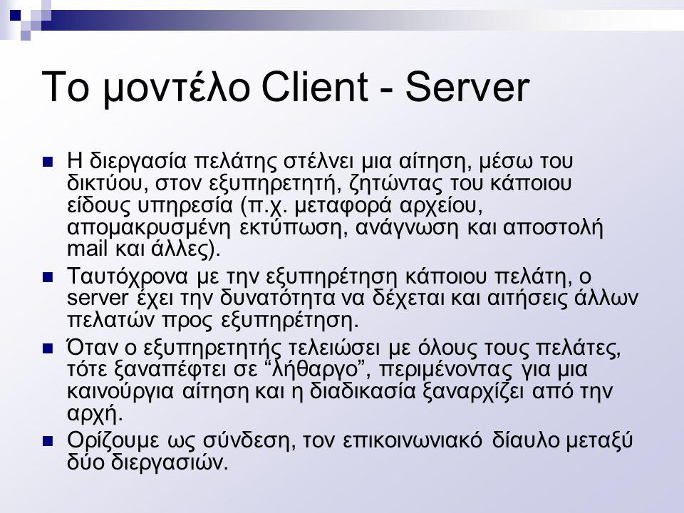 Το μοντέλο Client - Server Η διεργασία πελάτης στέλνει μια αίτηση, μέσω του δικτύου, στον εξυπηρετητή, ζητώντας του κάποιου είδους υπηρεσία (π.χ. μετα