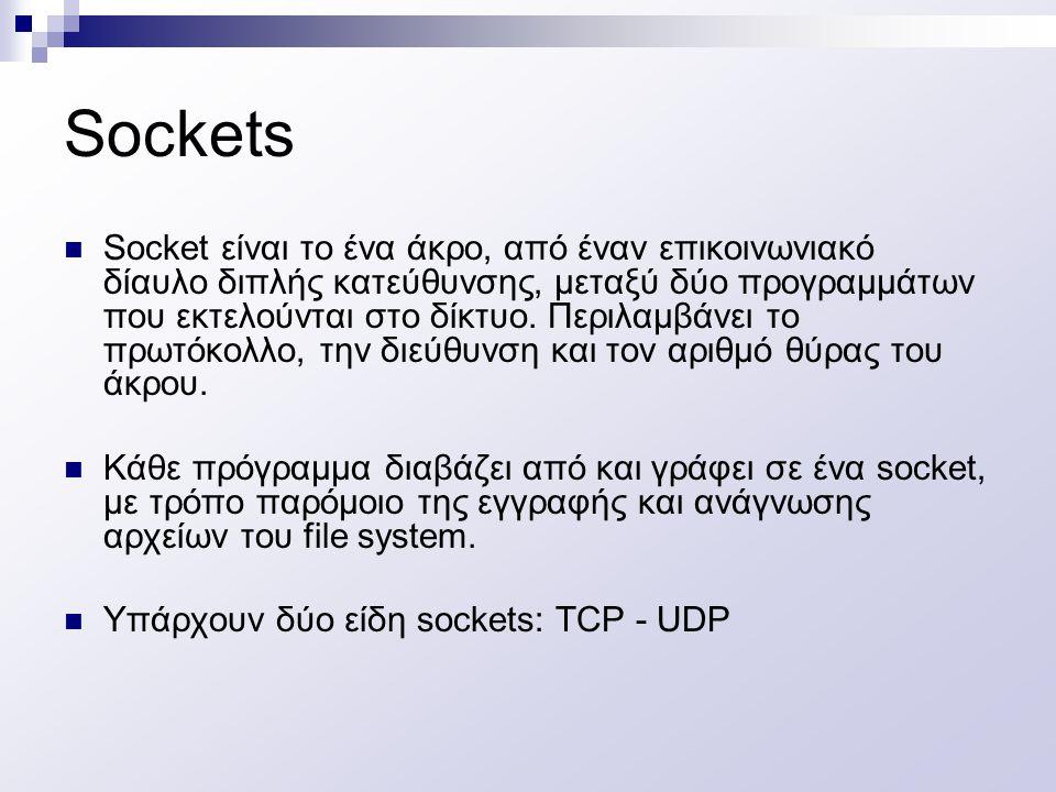 Sockets Socket είναι το ένα άκρο, από έναν επικοινωνιακό δίαυλο διπλής κατεύθυνσης, μεταξύ δύο προγραμμάτων που εκτελούνται στο δίκτυο. Περιλαμβάνει τ