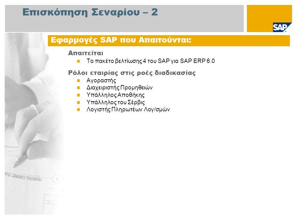 Επισκόπηση Σεναρίου – 2 Απαιτείται Το πακέτο βελτίωσης 4 του SAP για SAP ERP 6.0 Ρόλοι εταιρίας στις ροές διαδικασίας Αγοραστής Διαχειριστής Προμηθειών Υπάλληλος Αποθήκης Υπάλληλος του Σέρβις Λογιστής Πληρωτέων Λογ/σμών Εφαρμογές SAP που Απαιτούνται: