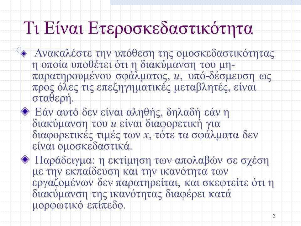 23 Eview Commands Έλεγχοι για Heteroskedasticity -> Αφού κανετε παλινδρόμηση επιλεξτε στο νέο παράθυρο, Equation: ….