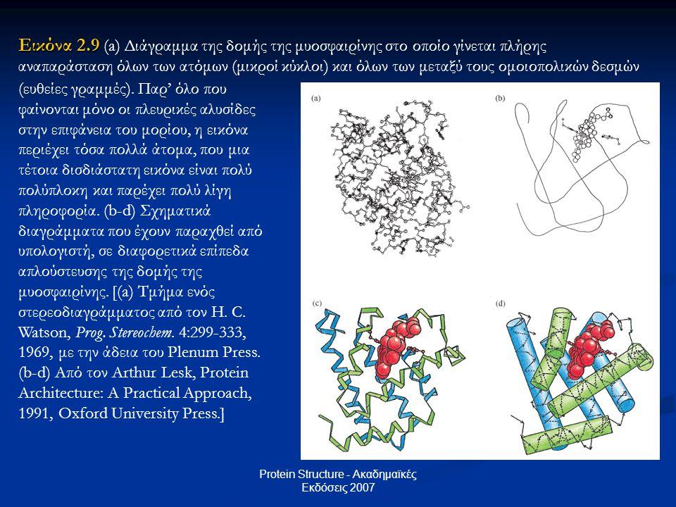 Protein Structure - Ακαδημαϊκές Εκδόσεις 2007 Εικόνα 2.9 Εικόνα 2.9 (a) Διάγραμμα της δομής της μυοσφαιρίνης στο οποίο γίνεται πλήρης αναπαράσταση όλω