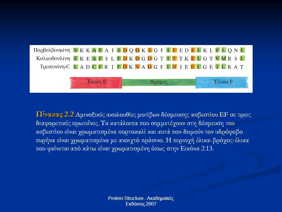 Protein Structure - Ακαδημαϊκές Εκδόσεις 2007 Πίνακας 2.2 Πίνακας 2.2 Αμινοξικές ακολουθίες μοτίβων δέσμευσης ασβεστίου EF σε τρεις διαφορετικές πρωτε