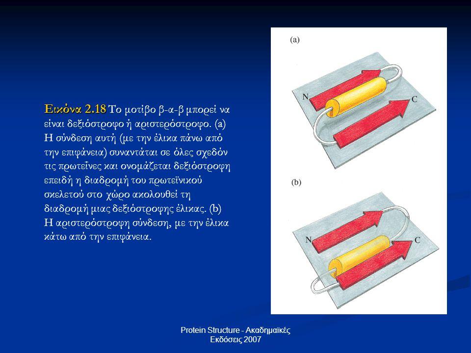 Protein Structure - Ακαδημαϊκές Εκδόσεις 2007 Εικόνα 2.18 Εικόνα 2.18 Το μοτίβο β-α-β μπορεί να είναι δεξιόστροφο ή αριστερόστροφο. (a) Η σύνδεση αυτή