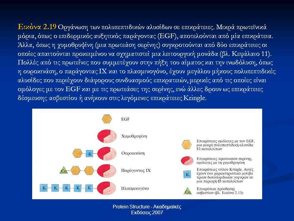 Protein Structure - Ακαδημαϊκές Εκδόσεις 2007 Εικόνα 2.19 Εικόνα 2.19 Οργάνωση των πολυπεπτιδικών αλυσίδων σε επικράτειες. Μικρά πρωτεϊνικά μόρια, όπω