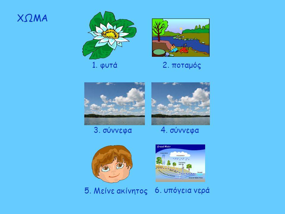 1. φυτά 2. ποταμός 5. Μείνε ακίνητος ΧΩΜΑ 4. σύννεφα3. σύννεφα 6. υπόγεια νερά