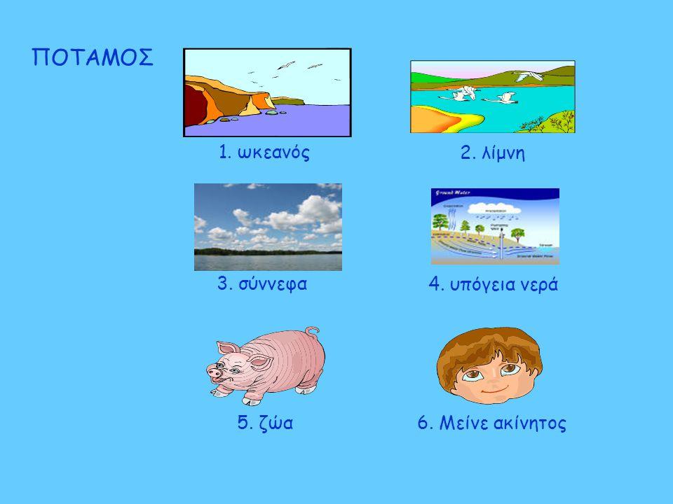 ΠΟΤΑΜΟΣ 2. λίμνη 5. ζώα 1. ωκεανός 6. Μείνε ακίνητος 3. σύννεφα 4. υπόγεια νερά