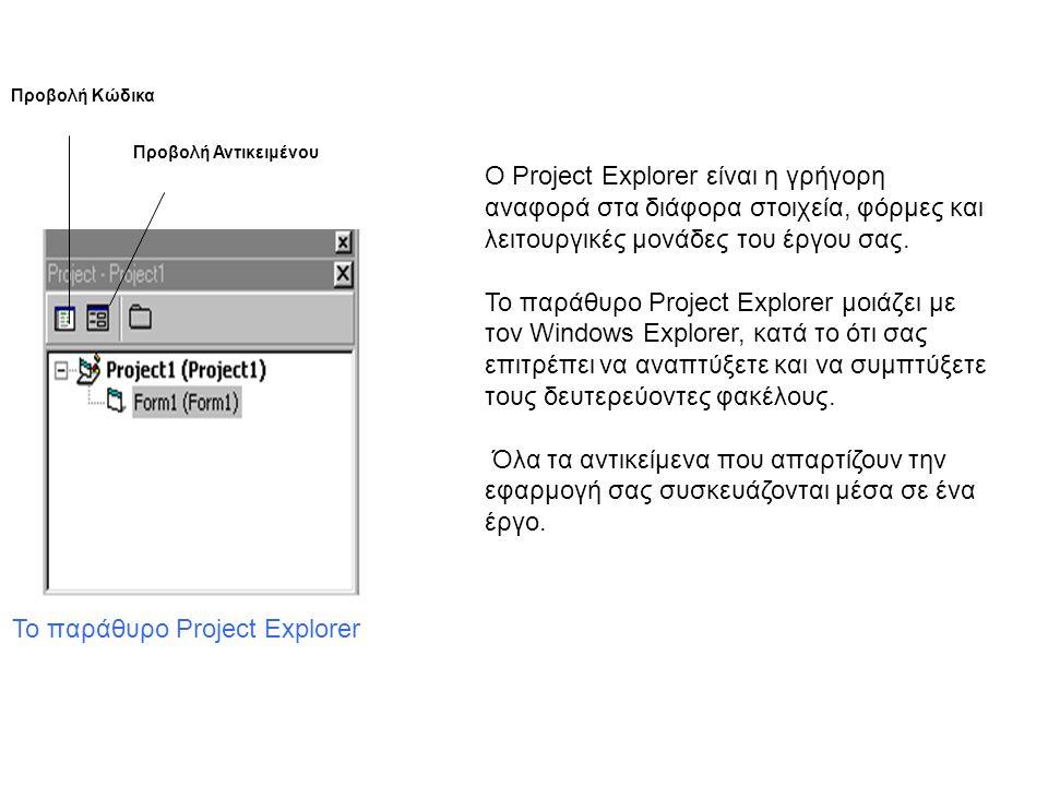 Το παράθυρο Project Explorer Προβολή Κώδικα Προβολή Αντικειμένου Ο Project Explorer είναι η γρήγορη αναφορά στα διάφορα στοιχεία, φόρμες και λειτουργικές μονάδες του έργου σας.