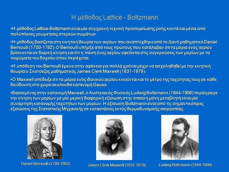 Η μέθοδος Lattice-Boltzmann είναι μία σύγχρονη τεχνική προσομοίωσης ροής κοντά και μέσα από πολύπλοκες γεωμετρίες στερεών σωμάτων.Η μέθοδος Lattice-Boltzmann είναι μία σύγχρονη τεχνική προσομοίωσης ροής κοντά και μέσα από πολύπλοκες γεωμετρίες στερεών σωμάτων.