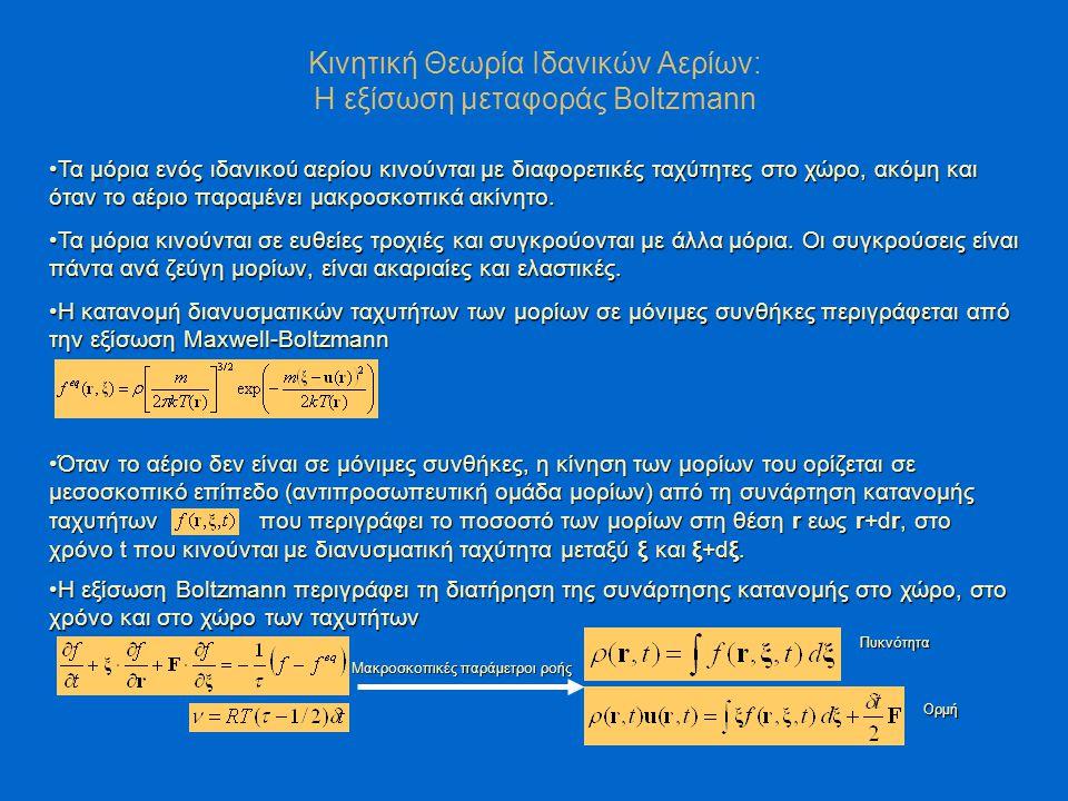 Η εξίσωση μεταφοράς Boltzmann: Μεσοσκοπική περιγραφή της ροής Molecular Dynamics Μικροσκοπική Περιγραφή Το ρευστό αποτελείται από διακριτά μόρια που καθένα έχει τις δικές του ιδιότητες Οι μακροσκοπικές παράμετροι της ροής προκύπτουν λαμβάνοντας τη μέση τιμή της αντιστοιχης παραμέτρου όλων των μορίων που κινούνται σε έναν μεγάλο όγκο ελέγχου.