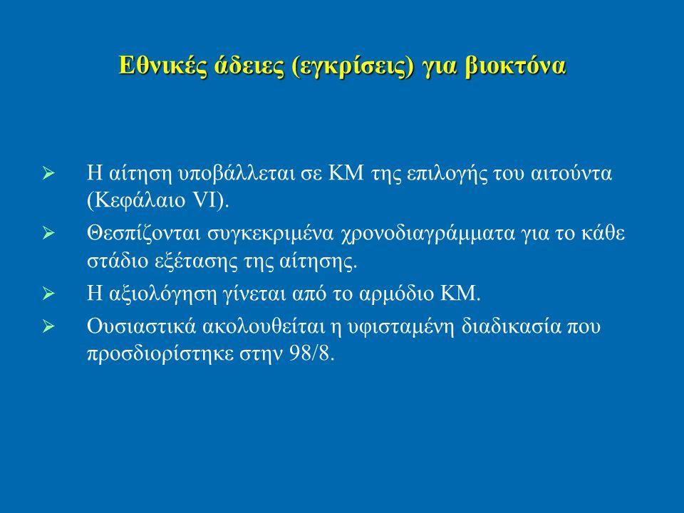 Εθνικές άδειες (εγκρίσεις) για βιοκτόνα   Η αίτηση υποβάλλεται σε ΚΜ της επιλογής του αιτούντα (Κεφάλαιο VI).