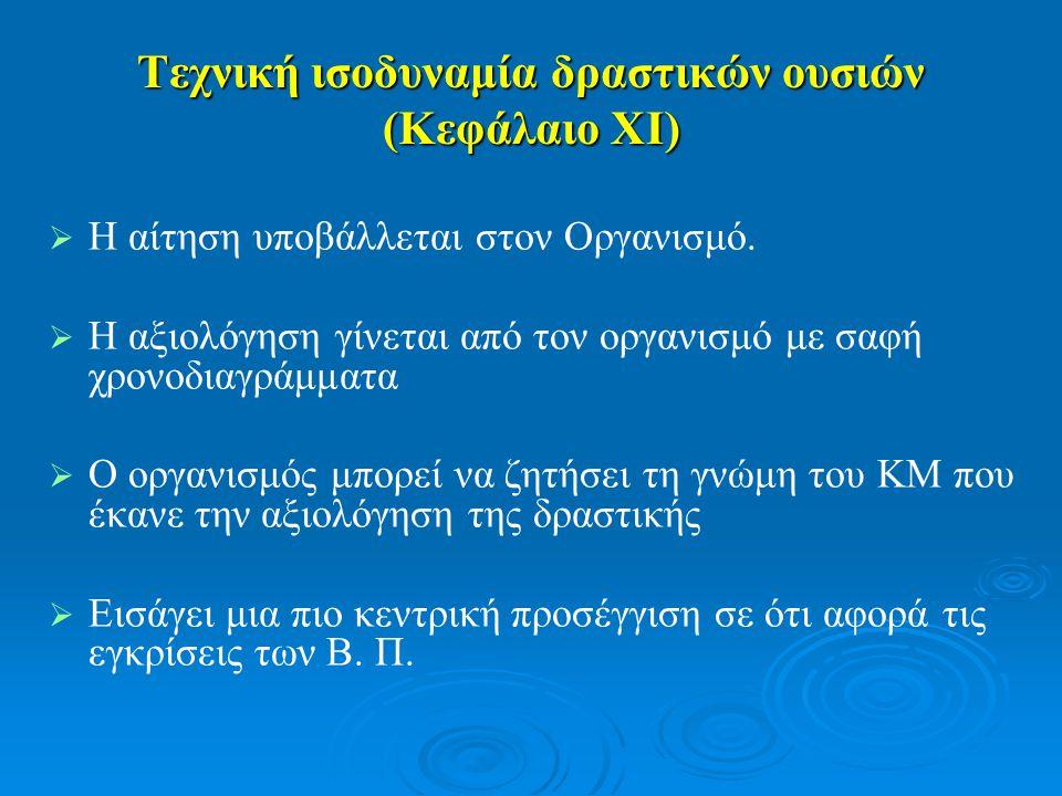 Τεχνική ισοδυναμία δραστικών ουσιών (Κεφάλαιο XI)   Η αίτηση υποβάλλεται στον Οργανισμό.   Η αξιολόγηση γίνεται από τον οργανισμό με σαφή χρονοδια