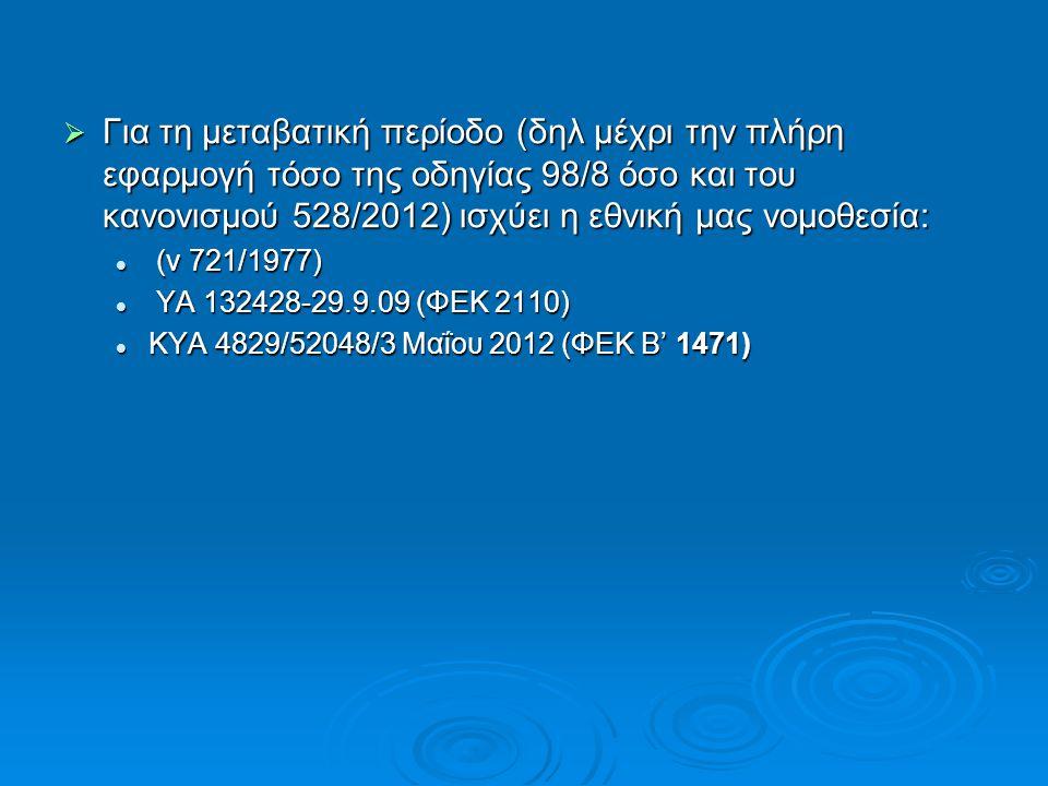  Για τη μεταβατική περίοδο (δηλ μέχρι την πλήρη εφαρμογή τόσο της οδηγίας 98/8 όσο και του κανονισμού 528/2012) ισχύει η εθνική μας νομοθεσία: (ν 721/1977) (ν 721/1977) ΥΑ 132428-29.9.09 (ΦΕΚ 2110) ΥΑ 132428-29.9.09 (ΦΕΚ 2110) ΚΥΑ 4829/52048/3 Μαΐου 2012 (ΦΕΚ Β' 1471) ΚΥΑ 4829/52048/3 Μαΐου 2012 (ΦΕΚ Β' 1471)