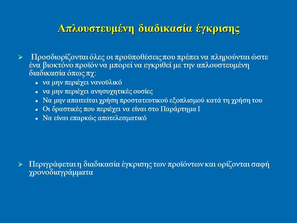 Απλουστευμένη διαδικασία έγκρισης   Προσδιορίζονται όλες οι προϋποθέσεις που πρέπει να πληρούνται ώστε ένα βιοκτόνο προϊόν να μπορεί να εγκριθεί με την απλουστευμένη διαδικασία όπως πχ: να μην περιέχει νανοϋλικό να μην περιέχει ανησυχητικές ουσίες Να μην απαιτείται χρήση προστατευτικού εξοπλισμού κατά τη χρήση του Οι δραστικές που περιέχει να είναι στο Παράρτημα I Να είναι επαρκώς αποτελεσματικό   Περιγράφεται η διαδικασία έγκρισης των προϊόντων και ορίζονται σαφή χρονοδιαγράμματα