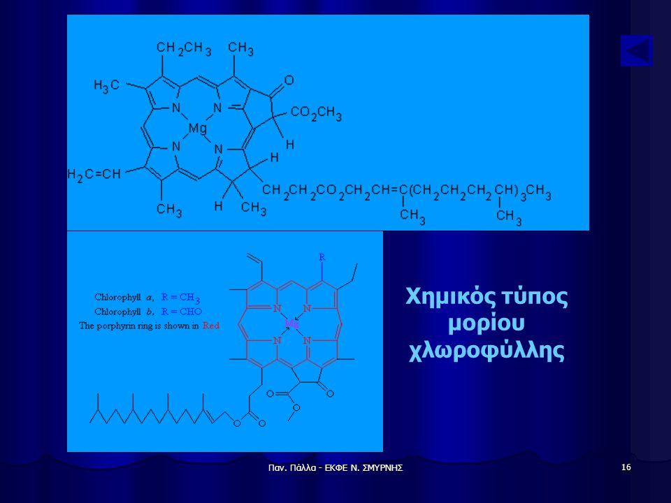 Παν. Πάλλα - ΕΚΦΕ Ν. ΣΜΥΡΝΗΣ 16 Χημικός τύπος μορίου χλωροφύλλης