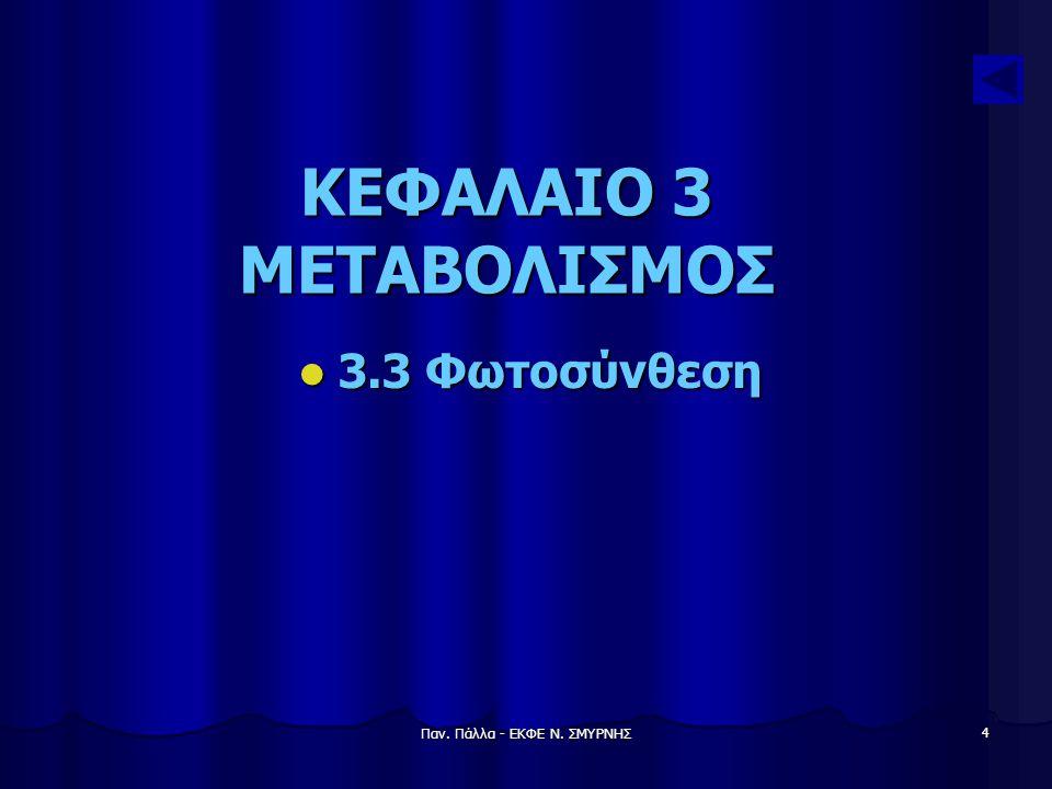 Παν. Πάλλα - ΕΚΦΕ Ν. ΣΜΥΡΝΗΣ 4 ΚΕΦΑΛΑΙΟ 3 ΜΕΤΑΒΟΛΙΣΜΟΣ 3.3 Φωτοσύνθεση 3.3 Φωτοσύνθεση