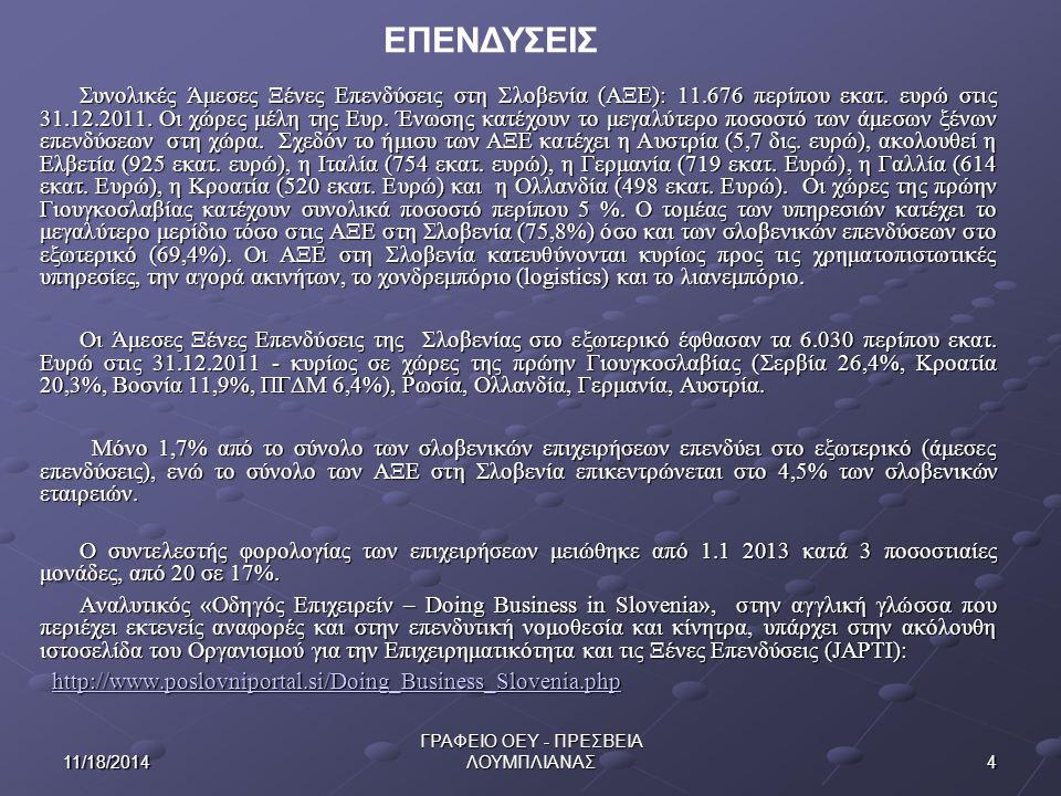 411/18/2014 ΓΡΑΦΕΙΟ ΟΕΥ - ΠΡΕΣΒΕΙΑ ΛΟΥΜΠΛΙΑΝΑΣ Συνολικές Άμεσες Ξένες Επενδύσεις στη Σλοβενία (ΑΞΕ): 11.676 περίπου εκατ.