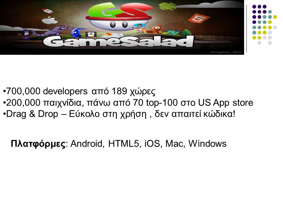 Πλατφόρμες: Android, HTML5, iOS, Mac, Windows 700,000 developers από 189 χώρες 200,000 παιχνίδια, πάνω από 70 top-100 στο US App store Drag & Drop – Ε