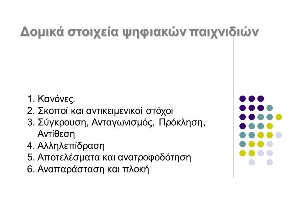 Δομικά στοιχεία ψηφιακών παιχνιδιών 1. Κανόνες. 2. Σκοποί και αντικειμενικοί στόχοι 3. Σύγκρουση, Ανταγωνισμός, Πρόκληση, Αντίθεση 4. Αλληλεπίδραση 5.