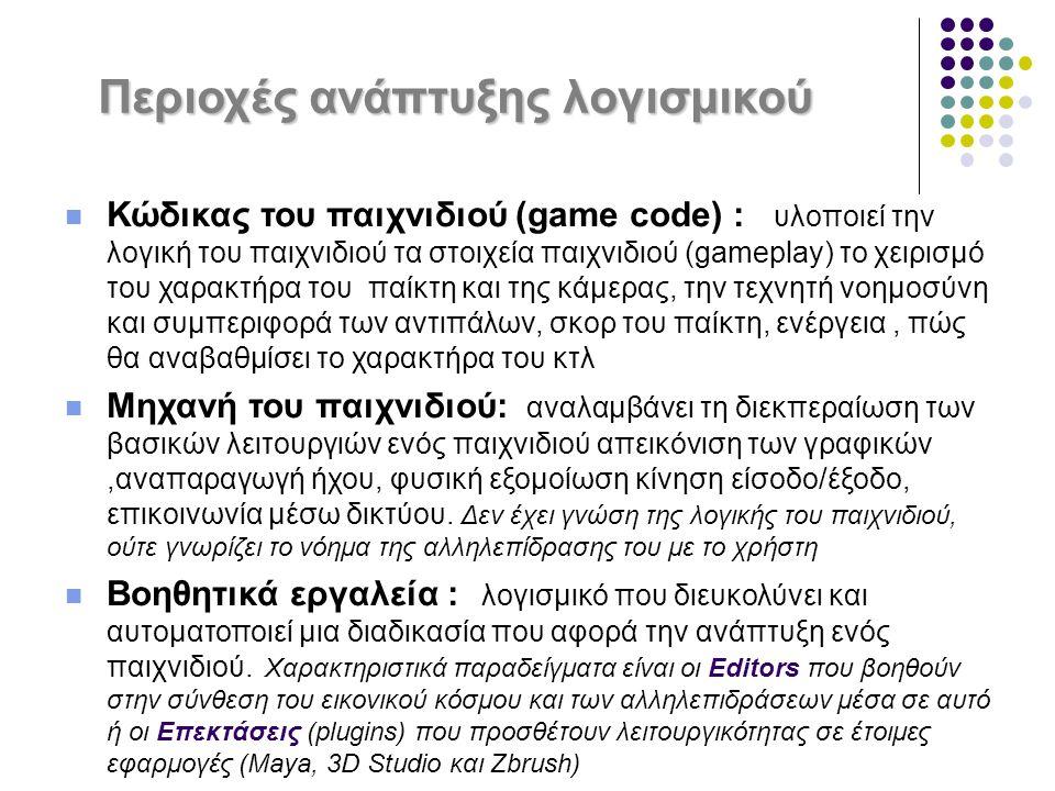Περιοχές ανάπτυξης λογισμικού Κώδικας του παιχνιδιού (game code) : υλοποιεί την λογική του παιχνιδιού τα στοιχεία παιχνιδιού (gameplay) το χειρισμό το