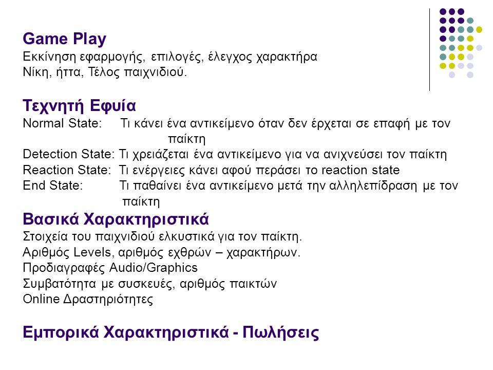 Game Play Εκκίνηση εφαρμογής, επιλογές, έλεγχος χαρακτήρα Νίκη, ήττα, Τέλος παιχνιδιού. Τεχνητή Εφυία Normal State: Τι κάνει ένα αντικείμενο όταν δεν
