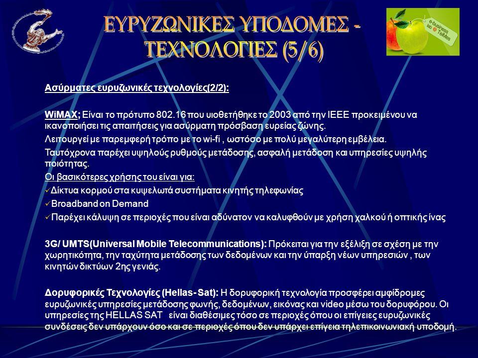 Ασύρματες ευρυζωνικές τεχνολογίες(2/2): WiMAX; Είναι το πρότυπο 802.16 που υιοθετήθηκε το 2003 από την ΙΕΕΕ προκειμένου να ικανοποιήσει τις απαιτήσεις για ασύρματη πρόσβαση ευρείας ζώνης.