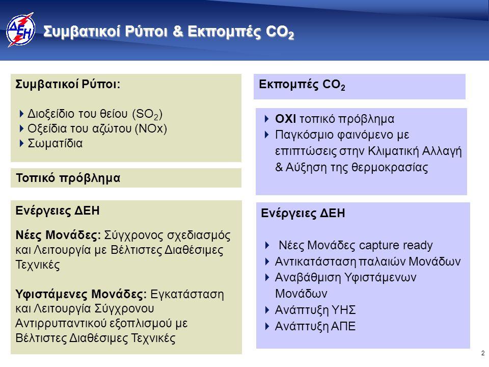2 Εκπομπές CO 2 Συμβατικοί Ρύποι:  Διοξείδιο του θείου (SO 2 )  Οξείδια του αζώτου (ΝΟx)  Σωματίδια Τοπικό πρόβλημα  ΟΧΙ τοπικό πρόβλημα  Παγκόσμιο φαινόμενο με επιπτώσεις στην Κλιματική Αλλαγή & Αύξηση της θερμοκρασίας Ενέργειες ΔΕΗ Νέες Μονάδες: Σύγχρονος σχεδιασμός και Λειτουργία με Βέλτιστες Διαθέσιμες Τεχνικές Υφιστάμενες Μονάδες: Εγκατάσταση και Λειτουργία Σύγχρονου Αντιρρυπαντικού εξοπλισμού με Βέλτιστες Διαθέσιμες Τεχνικές Ενέργειες ΔΕΗ  Νέες Μονάδες capture ready  Αντικατάσταση παλαιών Μονάδων  Αναβάθμιση Υφιστάμενων Μονάδων  Ανάπτυξη ΥΗΣ  Ανάπτυξη ΑΠΕ Συμβατικοί Ρύποι & Εκπομπές CO 2