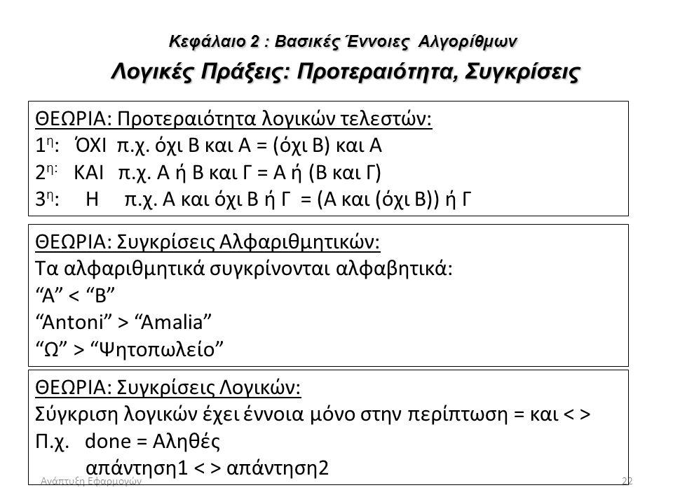 Ανάπτυξη Εφαρμογών22 ΘΕΩΡΙΑ: Προτεραιότητα λογικών τελεστών: 1 η : ΌΧΙ π.χ. όχι Β και Α = (όχι Β) και Α 2 η: ΚΑΙ π.χ. Α ή Β και Γ = Α ή (Β και Γ) 3 η