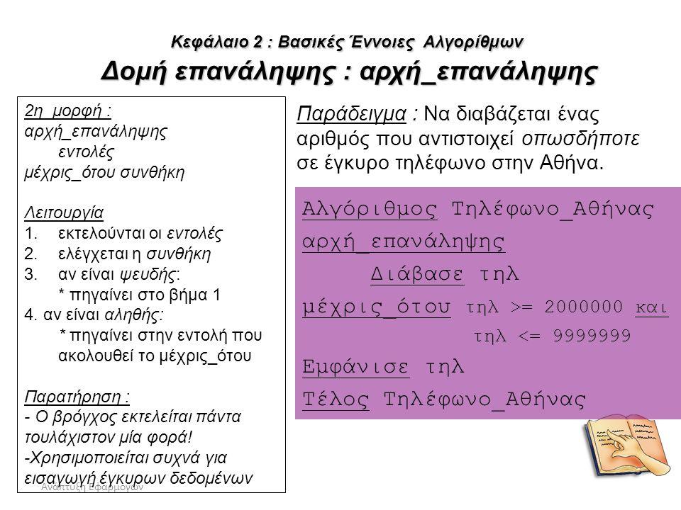 Ανάπτυξη Εφαρμογών39 Αλγόριθμος Τηλέφωνο_Αθήνας αρχή_επανάληψης Διάβασε τηλ μέχρις_ότου τηλ >= 2000000 και τηλ <= 9999999 Εμφάνισε τηλ Τέλος Τηλέφωνο_
