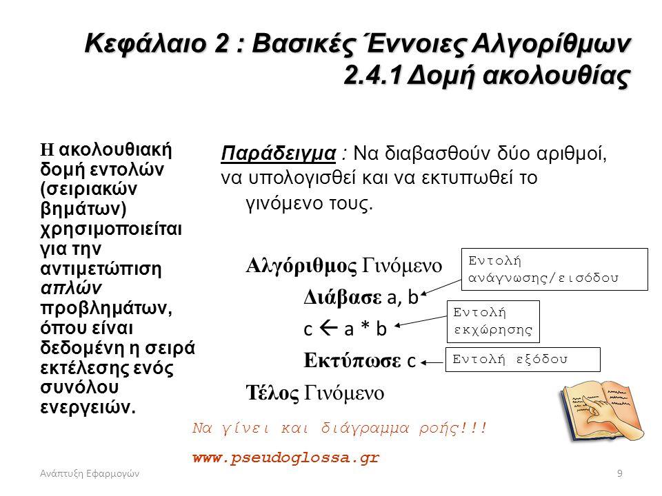 Ανάπτυξη Εφαρμογών9 Κεφάλαιο 2 : Βασικές Έννοιες Αλγορίθμων 2.4.1 Δομή ακολουθίας Η ακολουθιακή δομή εντολών (σειριακών βημάτων) χρησιμοποιείται για τ