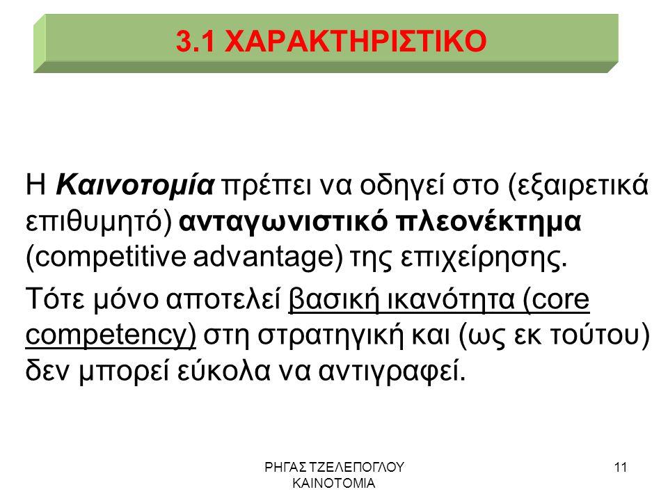 ΡΗΓΑΣ ΤΖΕΛΕΠΟΓΛΟΥ ΚΑΙΝΟΤΟΜΙΑ 11 3.1 ΧΑΡΑΚΤΗΡΙΣΤΙΚΟ Η Καινοτομία πρέπει να οδηγεί στο (εξαιρετικά επιθυμητό) ανταγωνιστικό πλεονέκτημα (competitive adv