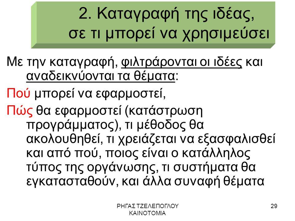 ΡΗΓΑΣ ΤΖΕΛΕΠΟΓΛΟΥ ΚΑΙΝΟΤΟΜΙΑ 29 2. Καταγραφή της ιδέας, σε τι μπορεί να χρησιμεύσει Με την καταγραφή, φιλτράρονται οι ιδέες και αναδεικνύονται τα θέμα