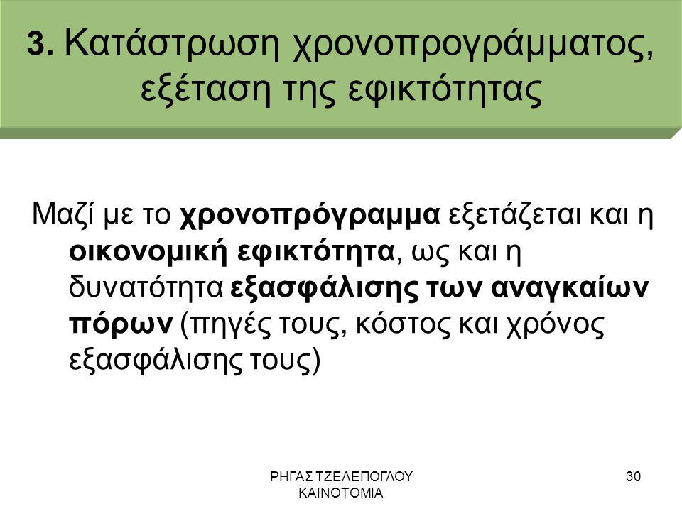 ΡΗΓΑΣ ΤΖΕΛΕΠΟΓΛΟΥ ΚΑΙΝΟΤΟΜΙΑ 30 3. Κατάστρωση χρονοπρογράμματος, εξέταση της εφικτότητας Μαζί με το χρονοπρόγραμμα εξετάζεται και η οικονομική εφικτότ