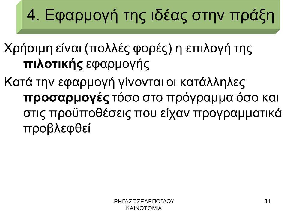 ΡΗΓΑΣ ΤΖΕΛΕΠΟΓΛΟΥ ΚΑΙΝΟΤΟΜΙΑ 31 4. Εφαρμογή της ιδέας στην πράξη Χρήσιμη είναι (πολλές φορές) η επιλογή της πιλοτικής εφαρμογής Κατά την εφαρμογή γίνο