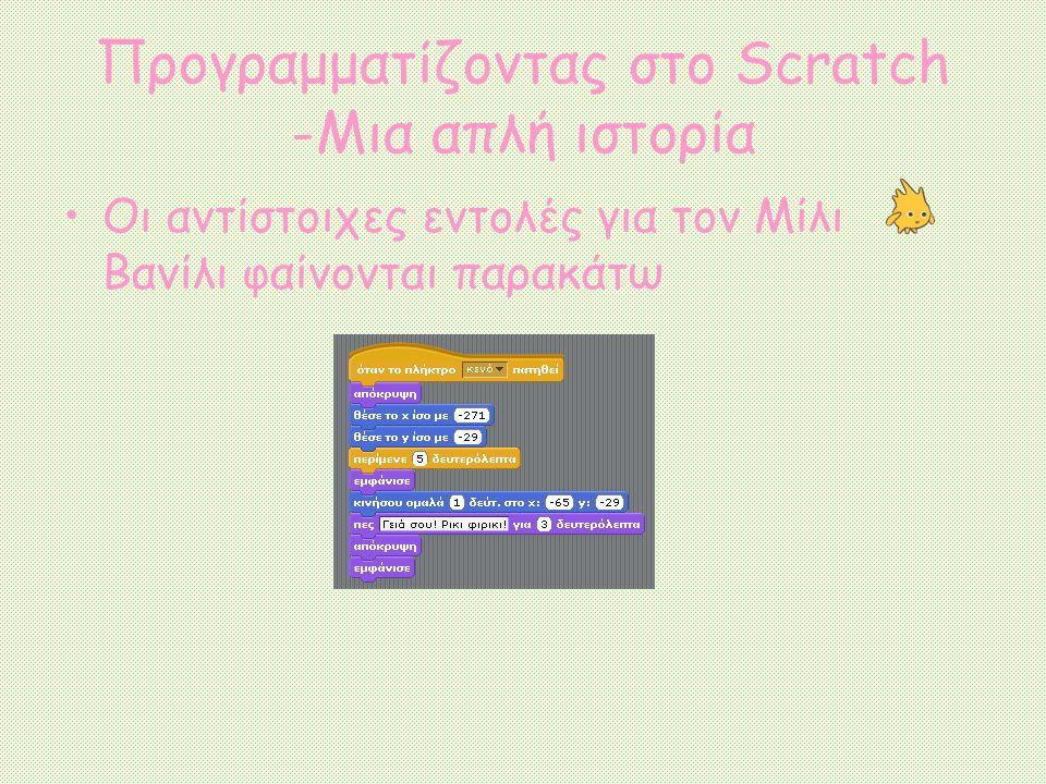 Προγραμματίζοντας στο Scratch -Μια απλή ιστορία Οι αντίστοιχες εντολές για τον Μίλι Βανίλι φαίνονται παρακάτω