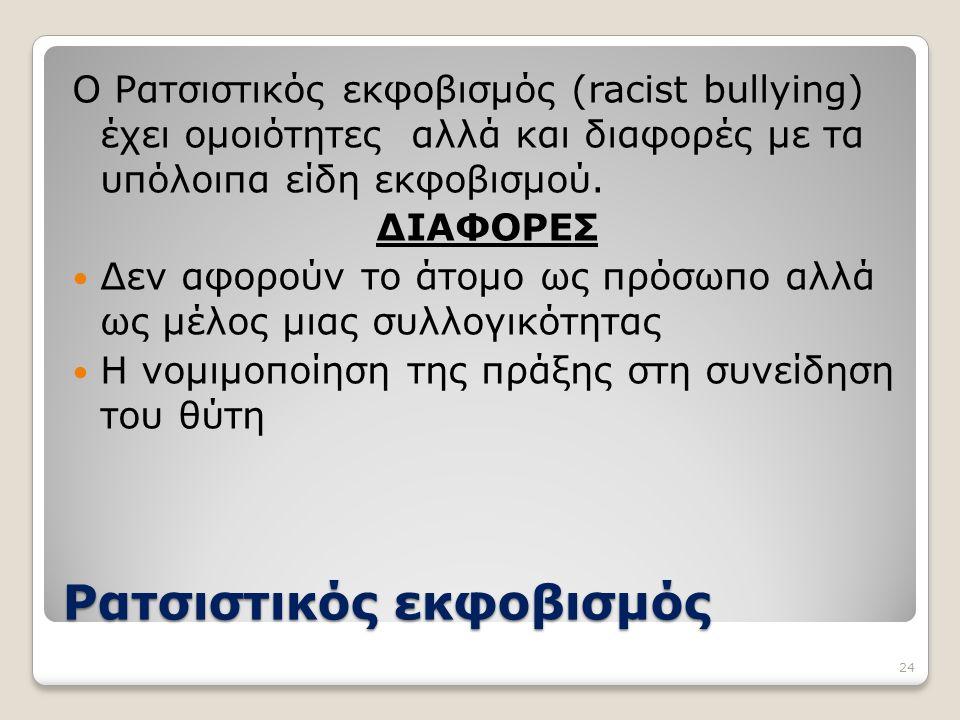 Ρατσιστικός εκφοβισμός Ο Ρατσιστικός εκφοβισμός (racist bullying) έχει ομοιότητες αλλά και διαφορές με τα υπόλοιπα είδη εκφοβισμού. ΔΙΑΦΟΡΕΣ Δεν αφορο