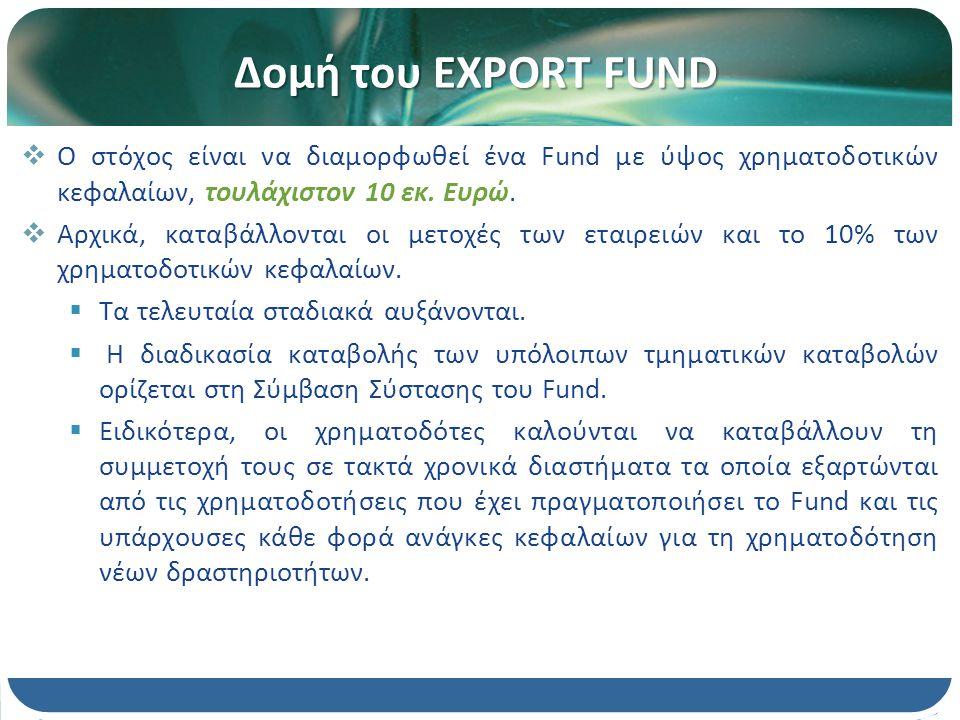Νομική μορφή του Fund Πλήρως καθετοποιημένη μορφή παρέχει χρηματοδότηση στις επιχειρήσεις Διαμορφώνει τα δικά του οικονομικά αποτελέσματα διατρέχει τον άμεσο πιστωτικό κίνδυνο 2διαστάσεις συνεργασία με Τράπεζα υπογράφει σύμβαση με Τράπεζα εκχωρεί τα χρηματοδοτικά κεφάλαιά του στην Τράπεζα Η Τράπεζα προβαίνει σε χρηματο- δοτήσεις προς τις επιχειρήσεις.