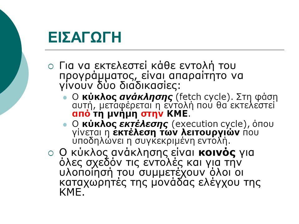 ΜΟΡΦΗ ΕΝΤΟΛΗΣ  Η εντολή χωρίζεται σε δύο τμήματα: Το πρώτο ονομάζεται κώδικας εντολής (instruction code) και έχει μήκος n1 bits και το δεύτερο τμήμα διευθύνσεως (address part) και έχει μήκος n2 bits· το άθροισμα n1 + n2 δίνει το μήκος της εντολής.