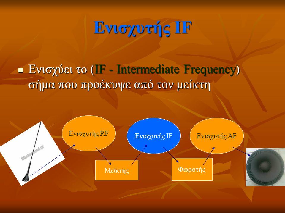 Ενισχυτής ΙF Ενισχύει το (IF - Intermediate Frequency) σήμα που προέκυψε από τον μείκτη Ενισχύει το (IF - Intermediate Frequency) σήμα που προέκυψε απ