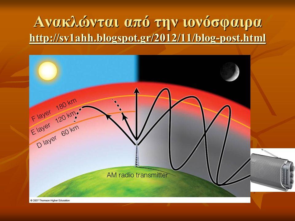 Ανακλώνται από την ιονόσφαιρα http://sv1ahh.blogspot.gr/2012/11/blog-post.html http://sv1ahh.blogspot.gr/2012/11/blog-post.html
