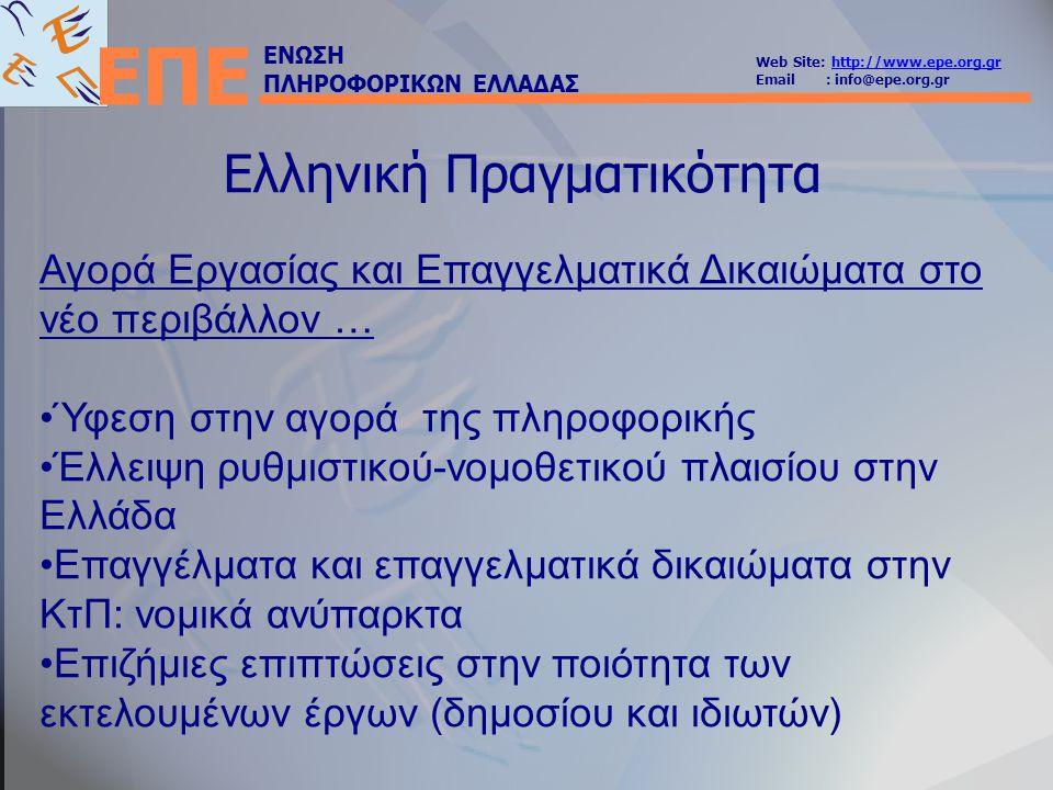 ΕΝΩΣΗ ΠΛΗΡΟΦΟΡΙΚΩΝ ΕΛΛΑΔΑΣ Web Site: http://www.epe.org.grhttp://www.epe.org.gr Email : info@epe.org.gr ΕΠΕ Τα Επαγγελματικά Δικαιώματα των Πληροφορικών Ουσιαστικά δεν υπάρχουν Οι διπλωματούχοι πολυτεχνικών τμημάτων πληροφορικής εγγράφονται στο ΤΕΕ, χωρίς ουσιαστικά επαγγελματικά δικαιώματα Οι απόφοιτοι σχολών Πληροφορικής ΑΕΙ δεν έχουν επαγγελματικά δικαιώματα, όπως επίσης και οι απόφοιτοι ΤΕΙ, ΙΕΚ & ΤΕΕ Β' Κύκλου Σπουδών - ΕΠΑΛ.